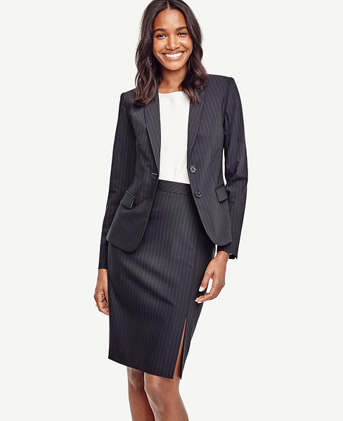 Pinstripe Tropical Wool Two Button Jacket
