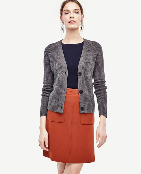 Anntaylor Ribbed Cashmere Cardigan