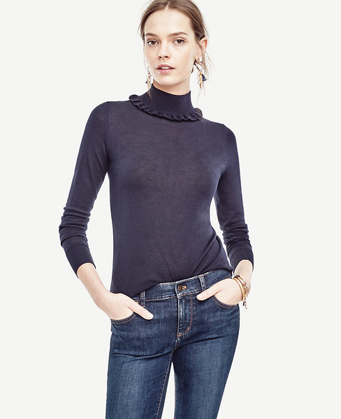 Ruffle Turtleneck Pullover