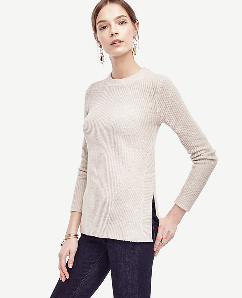 Ribbed Wool Cashmere Tunic Sweater