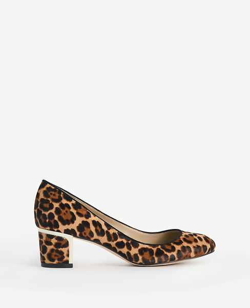 Olive Leopard Print Haircalf Pumps