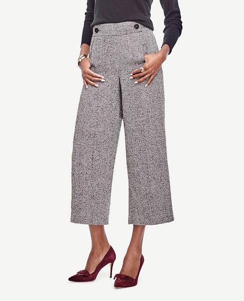 Herringbone Wide Leg Crop Pants