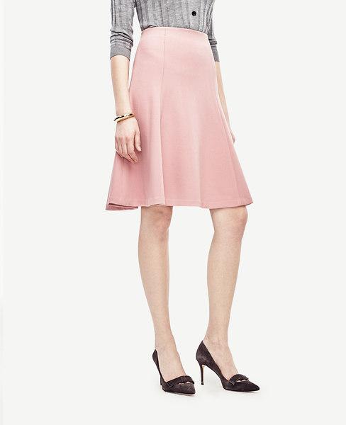Ann Taylor Petite Textured Twill Flounce Skirt