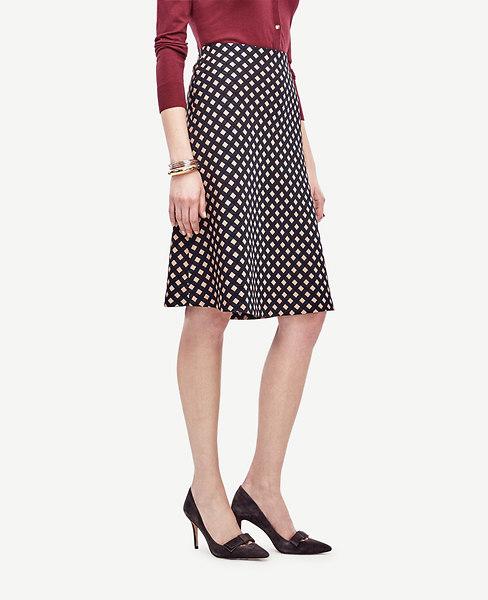 Ann Taylor Petite Square Jacquard Flounce Skirt