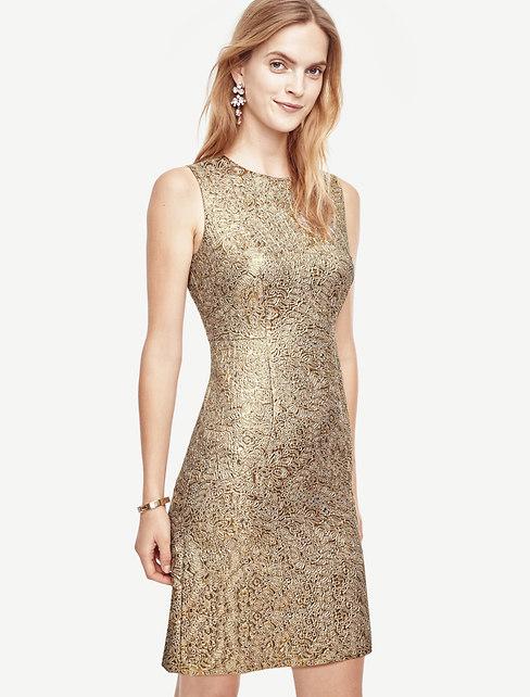 Shimmer Jacquard Flare Dress