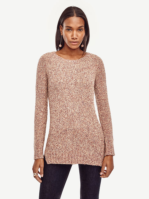 Ann Taylor Petite Marled Crew Neck Tunic Sweater