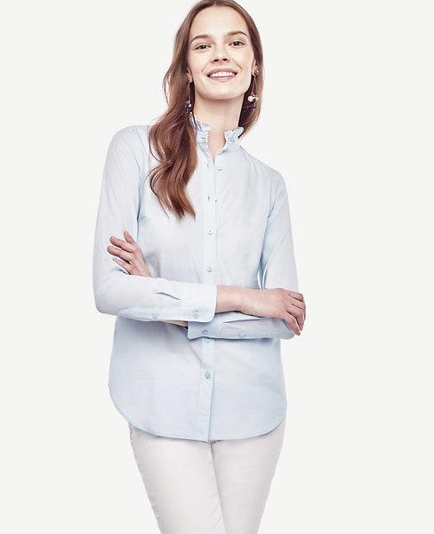 Ann Taylor Ruffle Neck Perfect Shirt