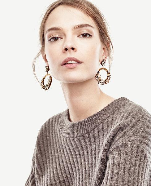 Drop Crystal Hoop Earrings