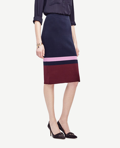 Colorblocked Knit Pencil Skirt