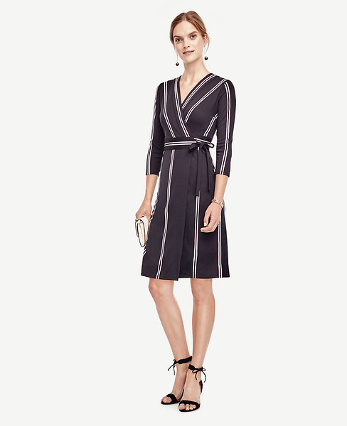 Ann Taylor Striped Wrap Dress
