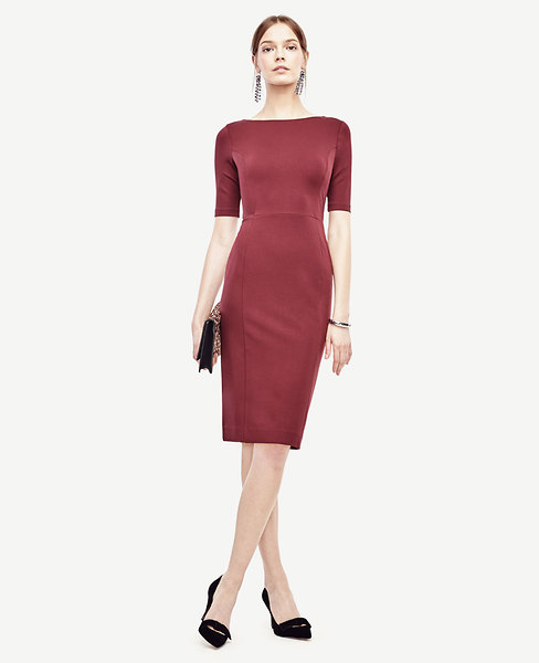 Ponte V-Back Sheath Dress