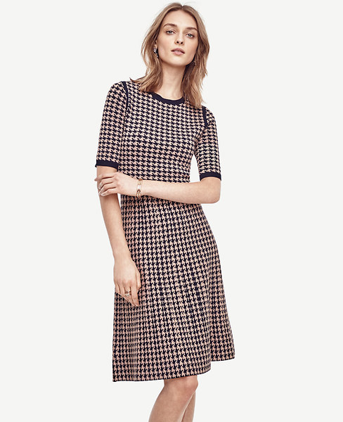 Houndstooth Flare Sweater Dress