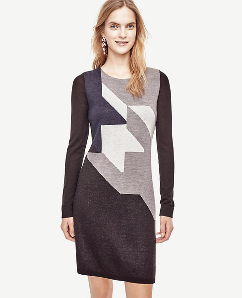 Colorblock Houndstooth Sweater Dress