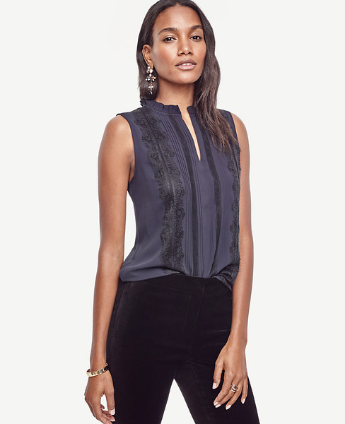 Ann Taylor Lacy Ruffle Neck Shell