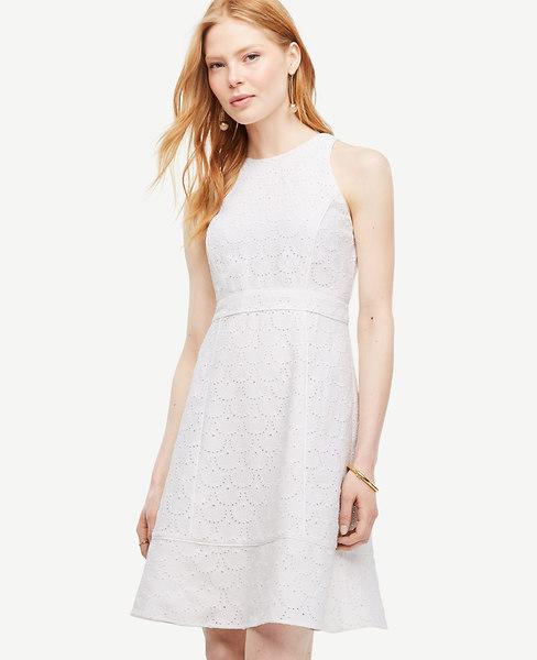 Anntaylor Eyelet Flare Dress