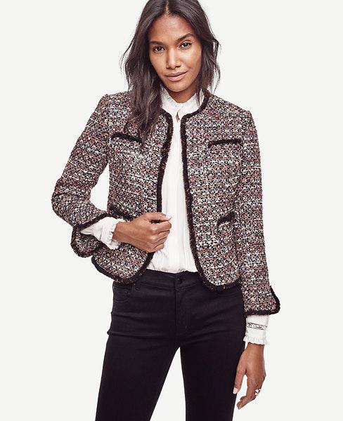 Ann Taylor Petite Sequin Tweed Jacket