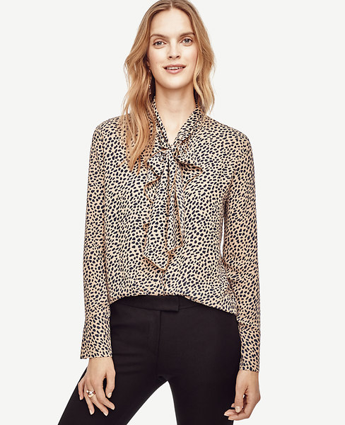 Spotted Tie Neck Ruffle Blouse