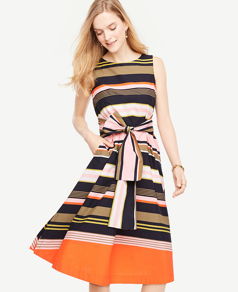 Anntaylor Striped Sleeveless Belted Dress