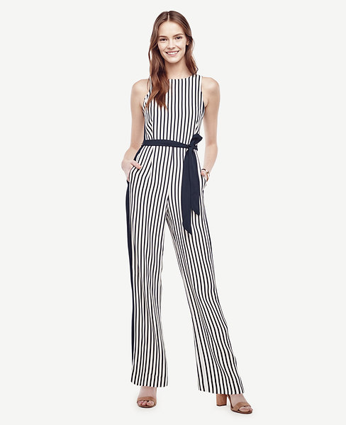 Ann Taylor Petite Striped Belted Jumpsuit