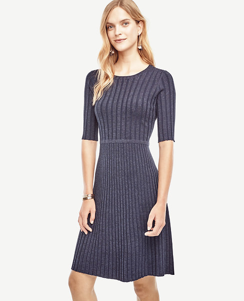 Ann Taylor Petite Ribbed Flare Sweater Dress