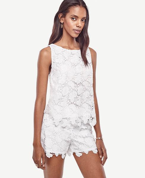 Ann Taylor Petite Floral Lace Shorts