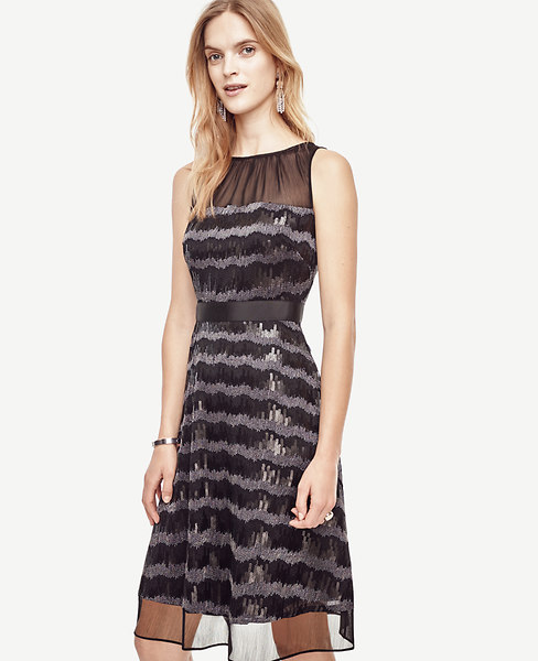 Sequin Stripe Flare Dress