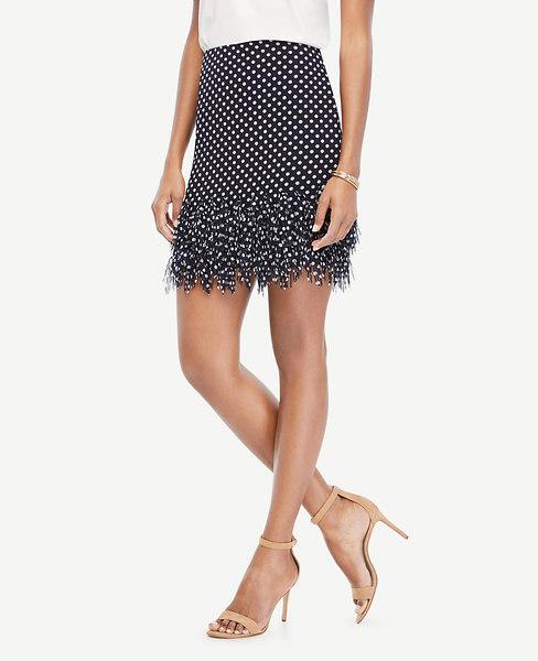 Ann Taylor Petite Polka Dot Fringe Skirt