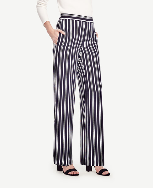 Ann Taylor Tall Striped High Waist Wide Leg Pants