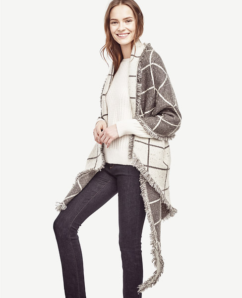 Ann Taylor Plaid Blanket Scarf