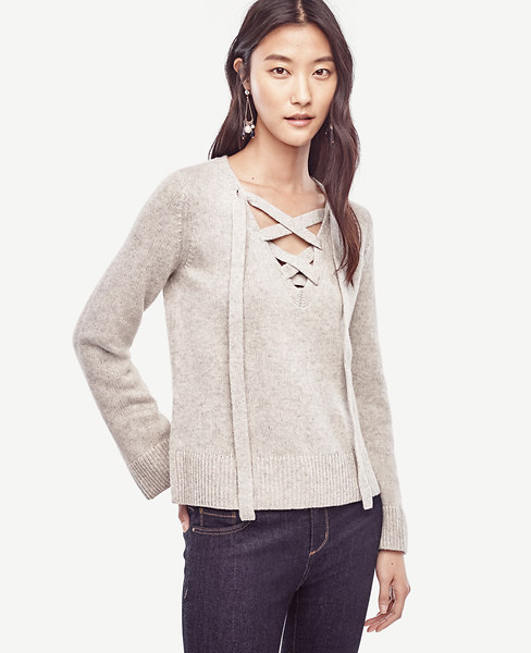 Ann Taylor Wool Cashmere Lace Up Sweater