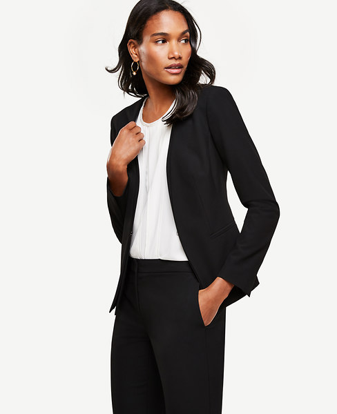 Ann Taylor Petite All-Season Stretch Layered Collarless Jacket