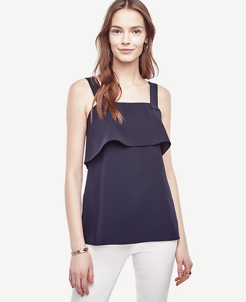Ann Taylor Strappy Ruffle Top