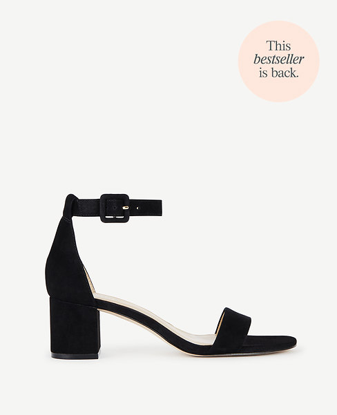 Ann Taylor May Suede Block Heel Sandals