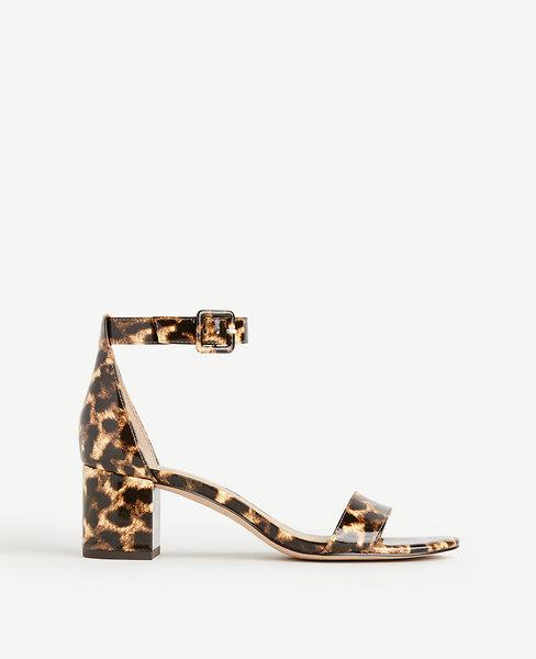 Ann Taylor May Leopard Print Patent Block Heel Sandals
