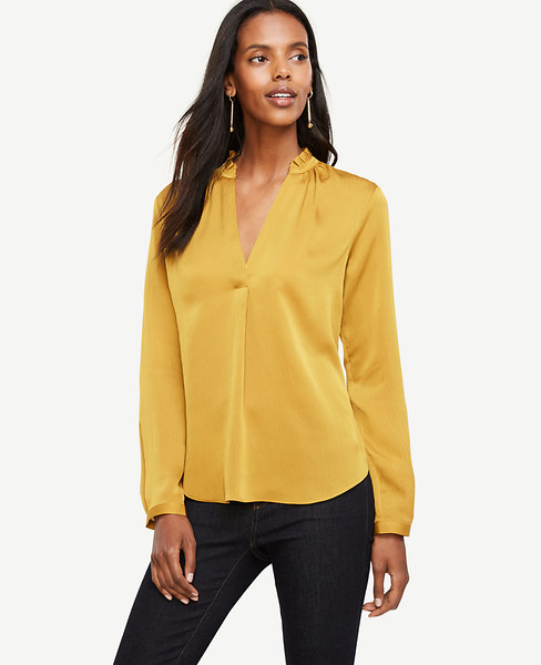 Ann Taylor Petite Pleated Collar Blouse