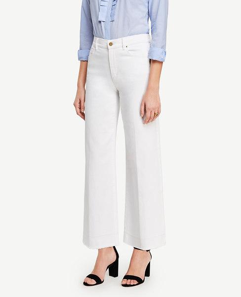Ann Taylor Petite Raw Hem Wide Leg Crop Jeans