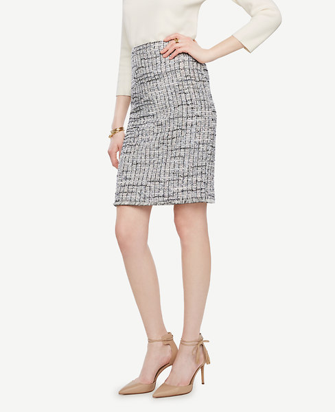 Ann Taylor Petite Grid Fringe Tweed Pencil Skirt