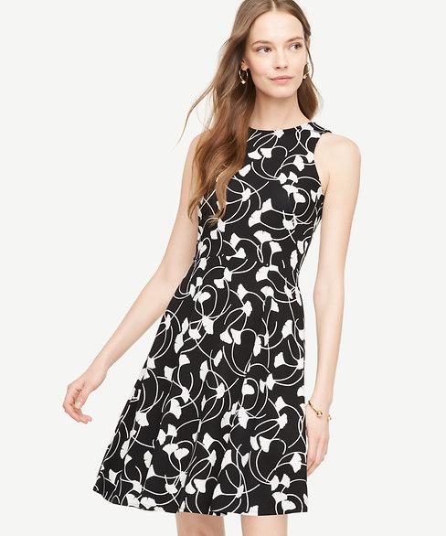 Anntaylor Ginkgo Pocket Flare Dress