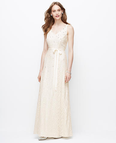 Image of Embellished V-Neck Wedding Dress