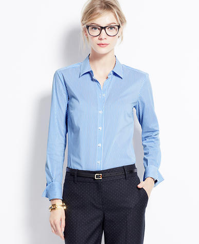 Image of P Cttn LS Perfect Shirt in Yale Stripe