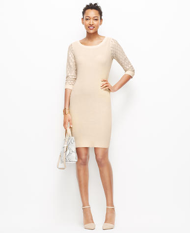 Image of Lace Sleeve Sweater Dress
