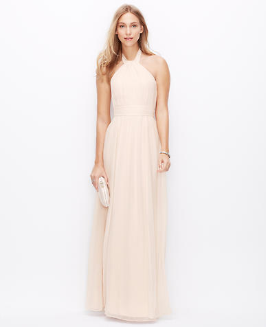 Image of Petite Silk Georgette Halter Gown