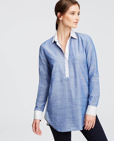 Image of Colorblock Chambray Boyfriend Shirt