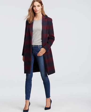 Image of Brushed Plaid Coat