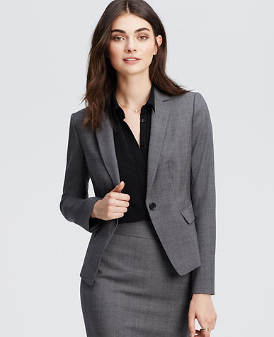Image of Petite Glen Plaid One Button Jacket