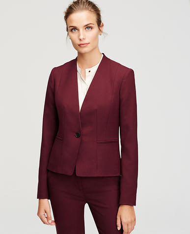 Image of Textured Collarless One Button Jacket