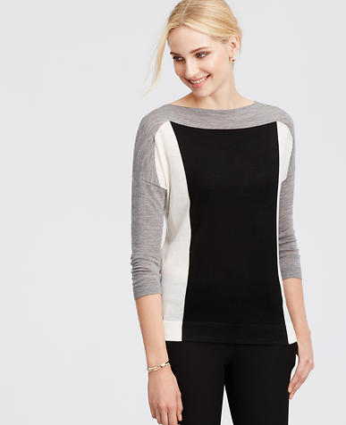 Image of Colorblock Merino Wool Dolman Sweater