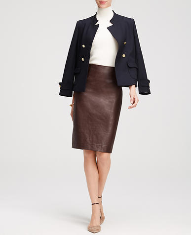 Image of Faux Leather Pencil Skirt