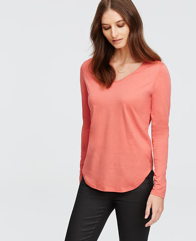 Image of V-Neck Long Sleeve Tee