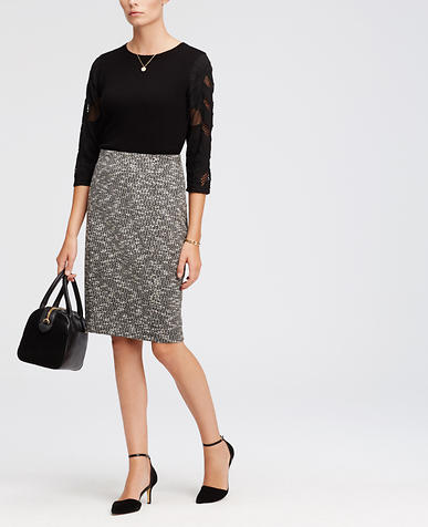 Image of Bonded Tweed Pencil Skirt